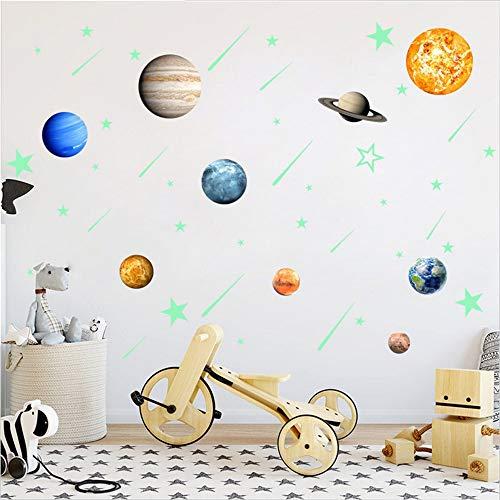 Fluorescent Autocollant, 9 Autocollants Planète + Autocollants 28 Étoiles + 12 Autocollants Météore. Les Décalques De Plafond Illuminent La Chambre De Votre Enfant. Décoration d'Art De l'Espace
