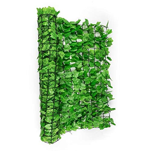 BISEN 1mx3m IVY Leaf Hedge Light Green Natural Colour Fence Screen Trellis Realistic Thick Artificial Panel UV Protection Wall Indoor Outdoor Decor Expandable Green Leaf Best New