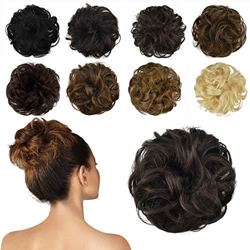 FESHFEN 100% Echthaar Haarteil Haargummi, lockige haarteile Haarknoten Haargummi Hochsteckfrisuren unordentlich dutt Haarteil Echthaar Haargummis für Damen Mädchen, Mittleres Kastanienbraun