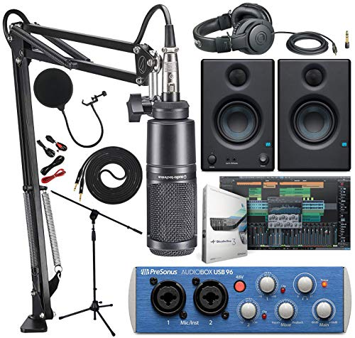 Audio Technica AT2020PK Studio Microphone with ATH-M20x, Boom - XLR Cable Streaming/Podcasting Pack and PreSonus AudioBox USB 96 Audio Interface with Eris 3.5 Pair Studio Monitors