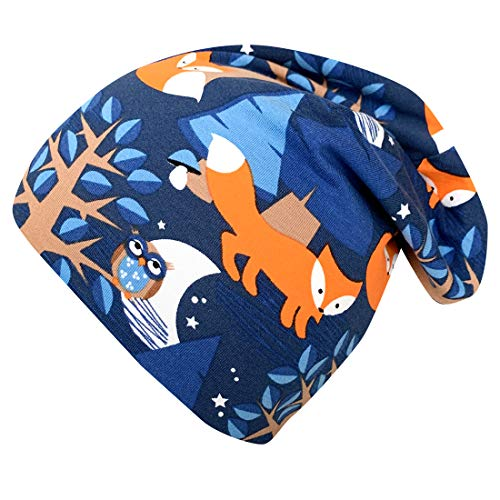 Wollhuhn Nightfox 20196000 - Gorro de Lana para niño, Reversible, Color Azul y Naranja