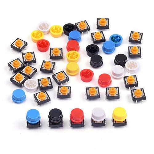 Cylewet Pcs2512x 12x 7.3mm momentané Tact tactile Push Button Switch Interrupteur tactile Micro Switch 4broches SMD PCB avec capuchon pour Arduino (lot de 25) Clw1009