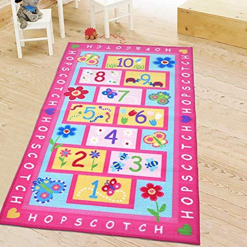 Kinder Teppich Spielteppich Kinderzimmer Alphanumerisches Hopse Blumen Rosa Krabbelteppich,Spieldecke für Schlafzimmer,Wohnzimmer,Kinderzimmer Dekoration,Grösse:80×150CM