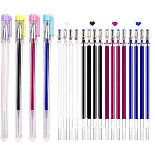 4 Farben Markierstift für Stoff, Stoffmarkierstift /Wärme Abwaschbare Markierungsstifte/Hitze Abwischbare Stifte/ Hitze Löschbar Stoff, mit 20 Stück Minen für Leder Schneider Nähen Quilten
