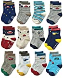 RATIVE Anti Skid Non Slip Slipper Cotton Crew Dress Socks With Grips For Baby Walker Toddlers Kids Boys 2T 3T (1-3T, 12 Designs/RB-71112)
