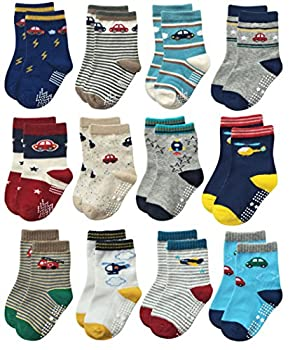 RATIVE Non Skid Anti Slip Slipper Cotton Crew Dress Socks With Grips For Baby Toddlers Kids Boys  6-12 Months 12 Designs/RB-71112