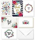 Cartes de remerciement - Lot de 48 - Blanches au verso - Motif floral féminin aux couleurs aquarelles - 10 x 15 cm - Best Paper Greetings