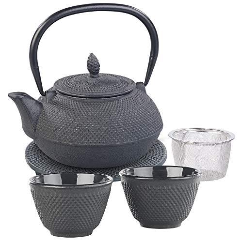 Rosenstein & Söhne Tee Set: Asiatische Teekanne, Untersetzer und 2 Becher aus Gusseisen, schwarz (Tee-Set Geschenk)