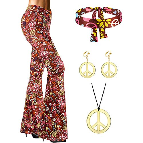 SATINIOR 70s Women Hippie Costume Accessories, Bell Bottom Boho Flared Pant (XX-Large)
