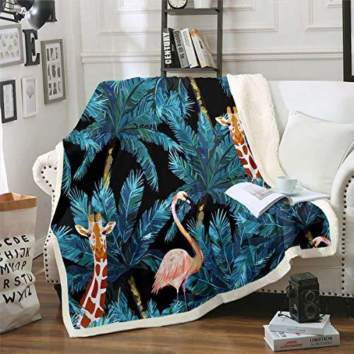 Manta de forro polar con diseño de flamencos tropicales, para niños, diseño de jirafa tropical, con hojas de palma, manta de felpa de acuarela botánica para sofá cama, doble de 152 x 192 cm