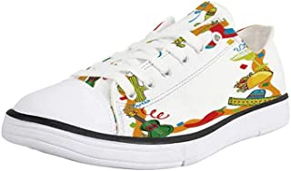 Canvas Sneaker Low Top Shoes,Feather,Watercolor Dream Catcher Native American Inspirations Traditional