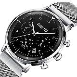 GIMTO Luxusmarke Herrenuhr Stahl Wasserdicht Datum Uhr Quarz Chronograph Männlich Military Casual Sportuhren,C