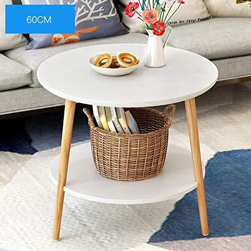ZYDSD Massivholz-Runde Tisch Doppelschicht Moderne Corner Couchtisch Wohnzimmer-Sofa Beistelltisch Esstisch Hängender Klapptisch, Bett, für Innen, Camping (Color : White, Size : 60X50X52cm)