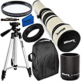 Ultimaxx 650-1300mm Telephoto Zoom Lens with 2x converter 1300-2600 Kit for Canon EOS Rebel T5, T5i, T6, T7 T6i, T6s, T7i, T8i, SL1, SL2, SL3, 60D, 70D, 77D, 80D, 90d; 6D, 7D, 7D II DSLR Cameras &More