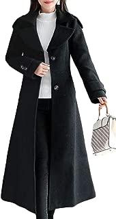 Macondoo Women Outwear Winter Single Breasted Woolen Swing Long Jacket Coat