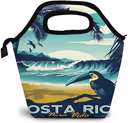 Carteles de Costa Rica, bolsa de almuerzo aislada, caja Bento personalizada, enfriador de picnic, bolso portátil, bolsa de almuerzo para mujeres, niñas, hombres, niños