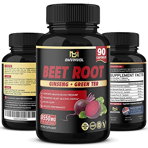 Beet Root Extract Capsules 8550mg - Natural Herbal Blend with Red Spinach, Green Tea, Ginseng & Black Pepper - Supports Blood Pressure, Athletic Performance, Digestive, Immune System - 3 Months Supply