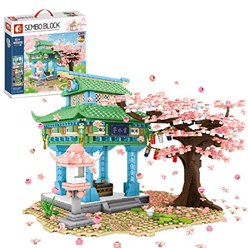 xSuper Romantische Sakura Boom met LED-verlichting, basisplanken Kersenbloesem paviljoen bouwstenen 1106 stuks Japanse stijl modulaire sets voor kinderen volwassenen compatibel met Lego Treehouse