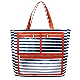 Striped Canvas Display Bag Handbag Purse Essential Oils Carrying Bag Reps Business Bag With Smooth Zipper and Multiple Display Windows Clear Pockets