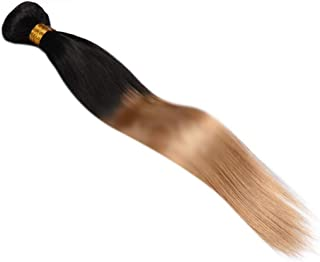 Hairpieces Hairpieces Ombre Blonde Straight Hair Bundles Brazilian Human Hair Extensions - 1B/27 2 Tones Color for Daily Use and Party (Color : Brown, Size : 20 inch)