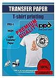 PPD A4 x 10 Hojas de Papel de Transferencia Térmica Para Camisetas, Mascarillas y Tejidos Claros - Para Impresoras de Inyección de Tinta Inkjet - PPD-1-10