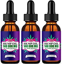 3 Pack ,Hemp Oil Drops 140 000 mg, Co2 Extracted, Made in USA, Help Reduce Stress, Anxiety and Pain, 100% Natural Ingredients, Vegan Friendly, GMO Free