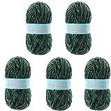 Hilo de chenilla aterciopelada para Tejer Punto Crochet o Ganchillo CHEVIOTTE de TORRIJO 85g (5 unidades * 85g)   Color 2628-VERDE