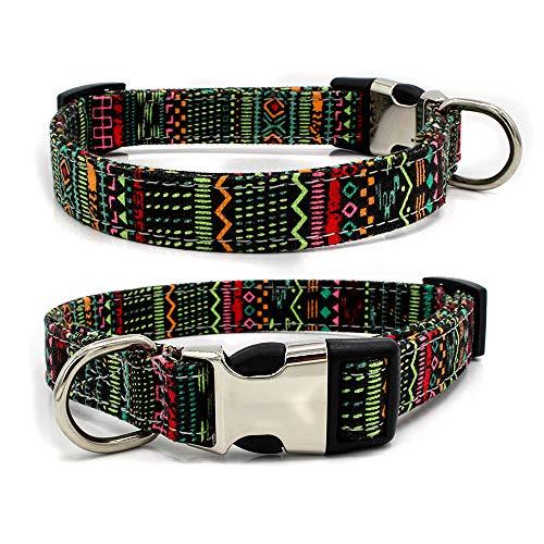 tiffan1990 Correa para Perros Boho Puede Ser Letras para Mascotas Collar De Lona Tracción para Collar De Perro Ancho M 2.0cm Ajuste 27-40 Deducción de Seguridad: Estilo Indio