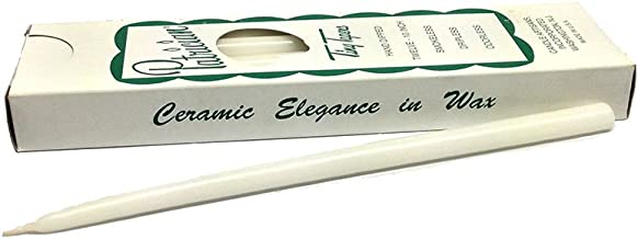 Patrician 10in White Hand Dipped Skinny Taper Candles, Set of 12