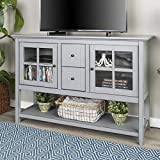 Walker Edison Furniture Company Rustic Farmhouse Wood Buffet Storage Cabinet Living Room, Antique Grey