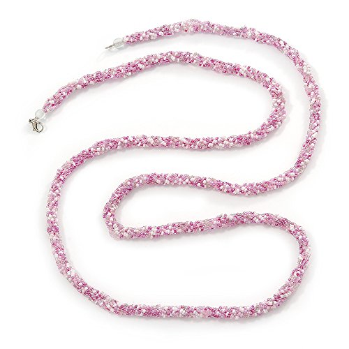 Avalaya Long Multistrand Twisted Glass Bead Necklace (Baby Pink, White) - 124cm L