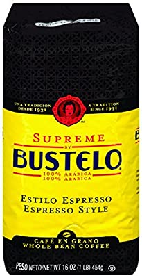 Supreme by Bustelo Whole Bean Espresso Coffee, 16 Ounce Bag