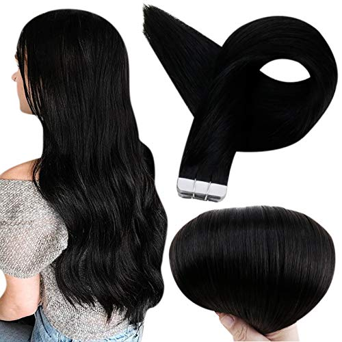 Full Shine Tape in Hair Extensions Human Hair 18 Inch Glue in Remy Hair Extension Color 1 Jet Black Fashion Tape in Extensions, Tape in Hair Extension 20 Pcs 50 Gram