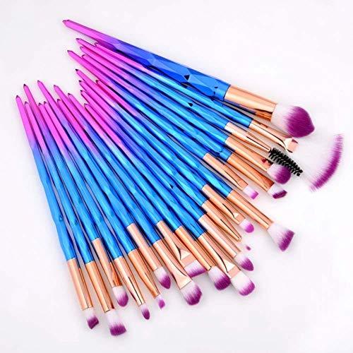 Heng 20pcs pinceaux de Maquillage des Cils Ensemble Pinceau Ombre à paupières Brosse à Sourcils Fondation Mascara brosses Kits d'outils cosmétiques, 20pcs Violet Bleu