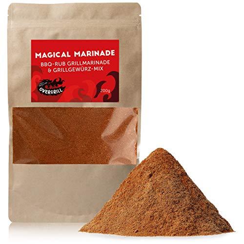 Premium BBQ Rub Gewürzmischung: Magical Marinade Barbecue Mix - 200g Rauchige BBQ Gewürzmischung für knusprige Marinade zum Grillen und Braten - Vegane Grill Gewürze Mischung, BBQ Marinade OVERGRILL