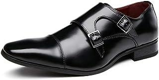DADIJIER Oxfords pour Hommes Chaussures habillées Chaussures en Cuir Formelles Trois articulations Boucles Monk Straps Cap...