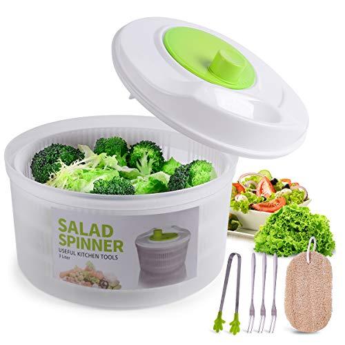 Large Salad Spinner Vegetable Washer Fruit Veggie Bowl Collapsible Salad Spinner with Lid Veggie Dryer Set for Kitchen Tools of Lettuce Dryer Salad Shooter Small Salad Spinner(Green)