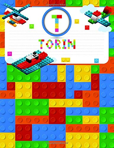Torin: Primary Composition Notebook Story Paper Journal Gifts with Personalized Initial Name & Monogram for Kids (Boys) Dashed  Midline / Dotted and ... Exercise Book (Block / Brick Games Design)
