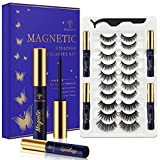 SevenCrown Magnetic Eyelashes with Eyeliner Kit - Magnetic Lashes with Eyeliner Natural Looking ,Upgraded Long Lasting,10 Pairs 3D Reusable 5 Magnet False Eyelashes Easy to Apply.