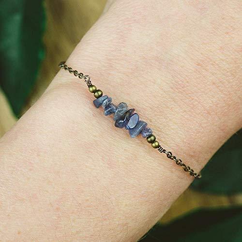 Tanzanite bead bar crystal bracelet in bronze - 6