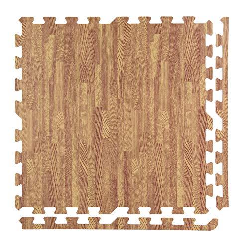BodenMax Tappeto Protettivo in Gommapiuma Eva - Puzzle a Incastro con Bordi - Tappetivo Sportivo, da Yoga, per la Palestra – Colore Legno Chiaro 30x30x1cm (18 Pezzi)