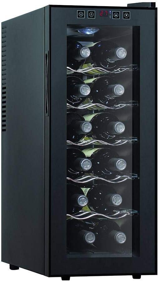 Nevera Para Vinos, Enfriador De Vino Electrico Multitemperatura 8 ° C-18 ° C, Para Vinos Tintos Y Blancos, Panel De Control Táctil, Silencioso, Led, Puerta De Cristal Anti-UV,12 bottles