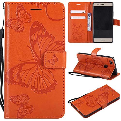 Huawei P9 Lite Hülle,THRION PU Schmetterling Brieftaschenetui mit magnetischer Handschlaufe und Ständerhalterung für Huawei P9 Lite, Orange