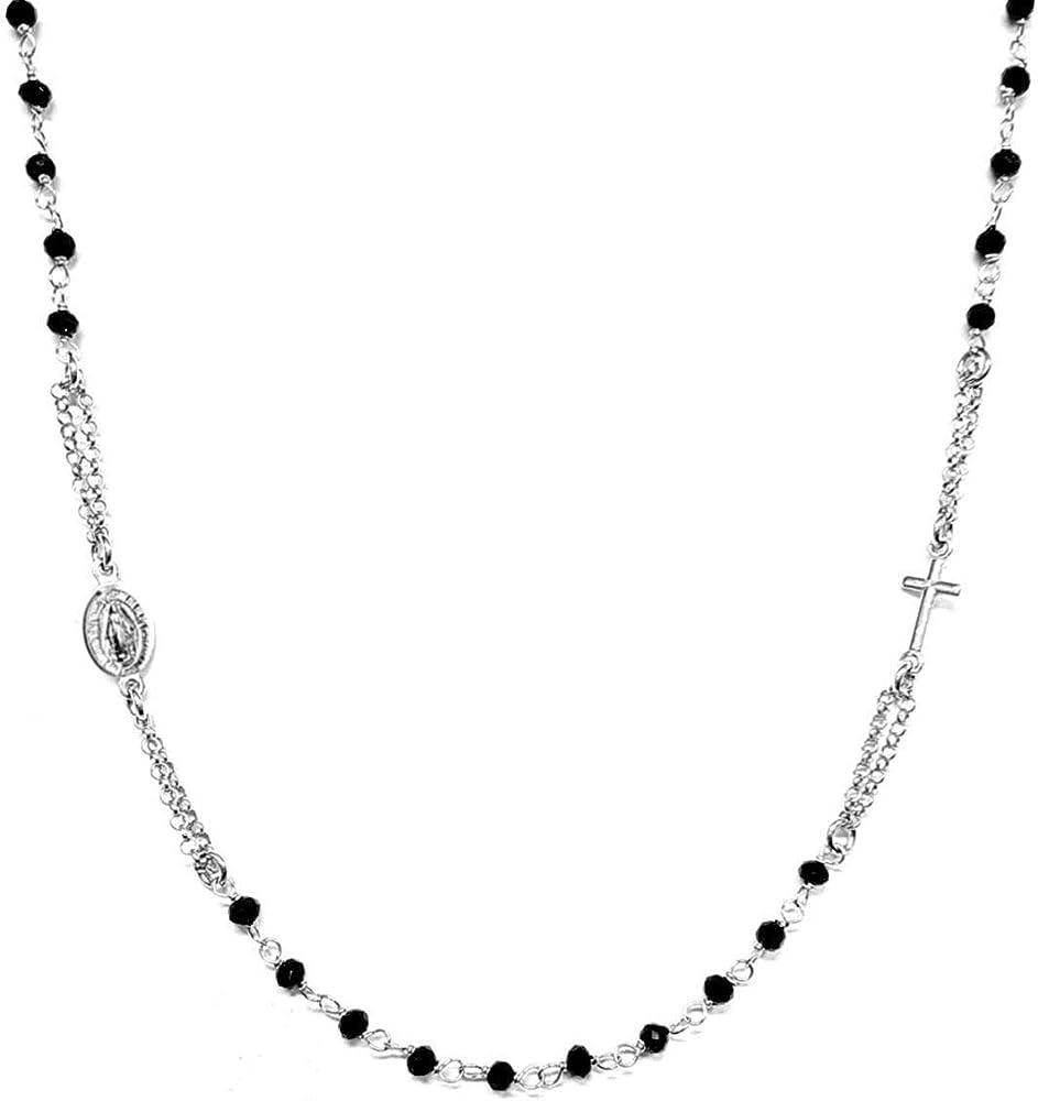 Collana a rosario girocollo in argento 925 con perline nere - croce e medaglietta madonna