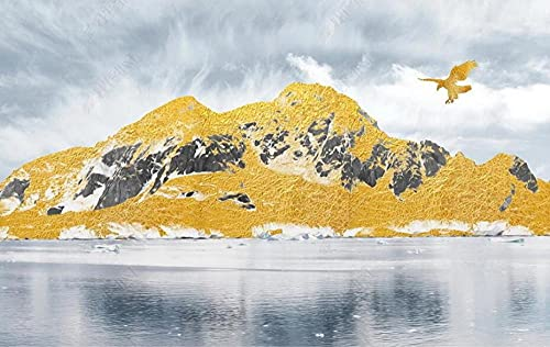 Wallpaper 3D Wallpapers for Walls Mural Golden Mountain Peak Lake Flying Eagle Wall Murals for Bedrooms and Living Room Tv Background Wall Mural Decoration Art 400cmx280cm
