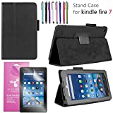 EpicGadget 2019/2017 Amazon Fire 7 Case, Smart Cover Case for Fire 7 Premium PU Leather Folding Folio Stand Case for Fire 7 inch (2019/2017 Release) + 1 Screen Protector and 1 Stylus (Black)