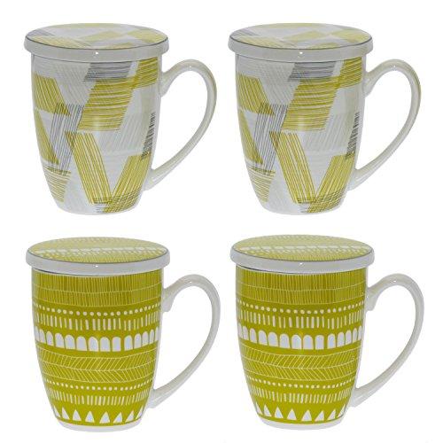 DONREGALOWEB Set de 4 Tazas de infusión con Tapa de Porcelana con Filtro de Acero Decoradas con Dibujos Abstractos