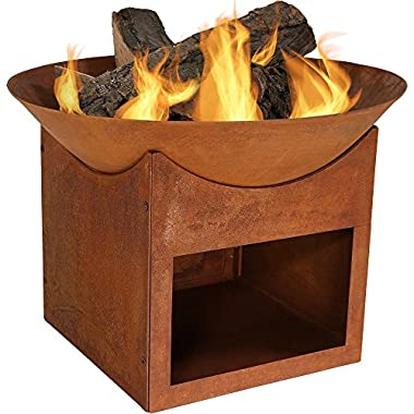 Sunnydaze Small Rustic Cast Iron Fire Pit Bowl with Built-In Log Holder, 22 Inch Diameter