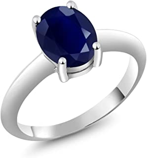 Gem Stone King 925 Sterling Silver Blue Sapphire Women's Solitaire Ring 2.50 Ct Oval Gemstone Birthstone (Available 5,6,7,8,9)