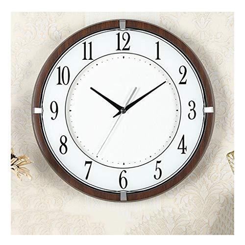 MJJ @Reloj de Pared Reloj de Pared de Cuarzo, Silent Salón Dormitorio Cocina No Marque Decorativo Reloj de Pared, Alimentado por batería, Ronda de Estilo Minimalista Estilo